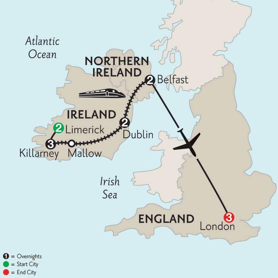Limerick, Killarney, Dublin, Belfast & London