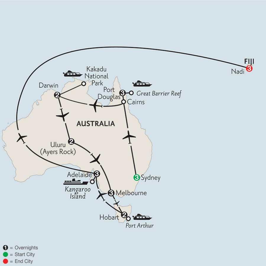Wonders of Australia with Hobart, Adelaide & Fiji