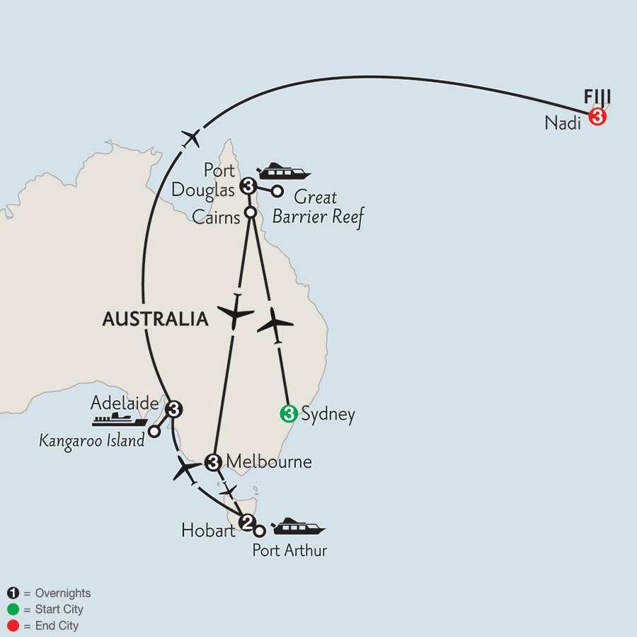 with Hobart, Adelaide & Fiji