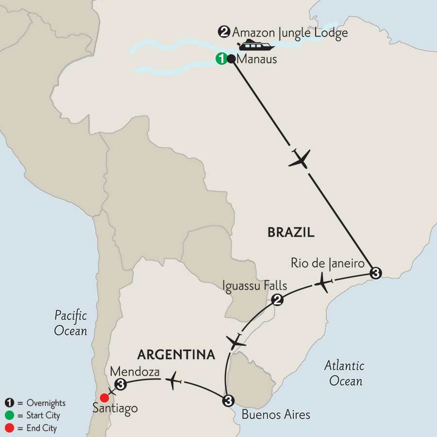 with Brazil's Amazon & Mendoza
