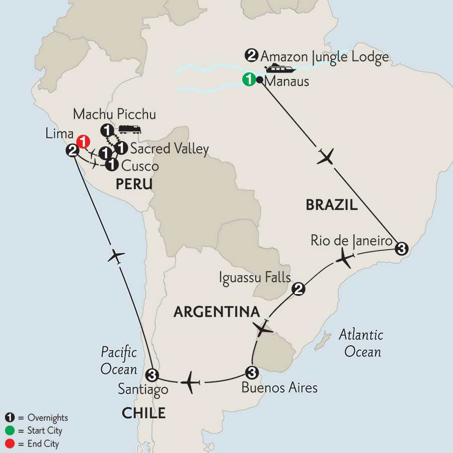 Brazil, Argentina & Chile with Brazil's Amazon, Peru & Machu Picchu