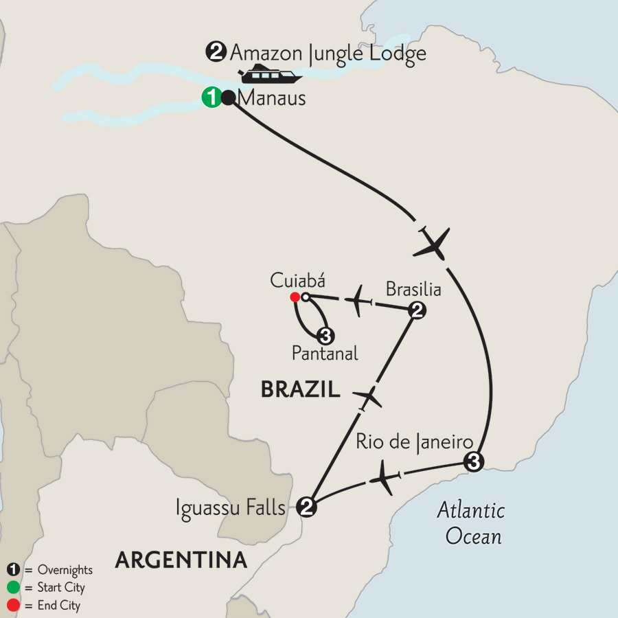 with Brazil's Amazon, Brasilia & Pantanal
