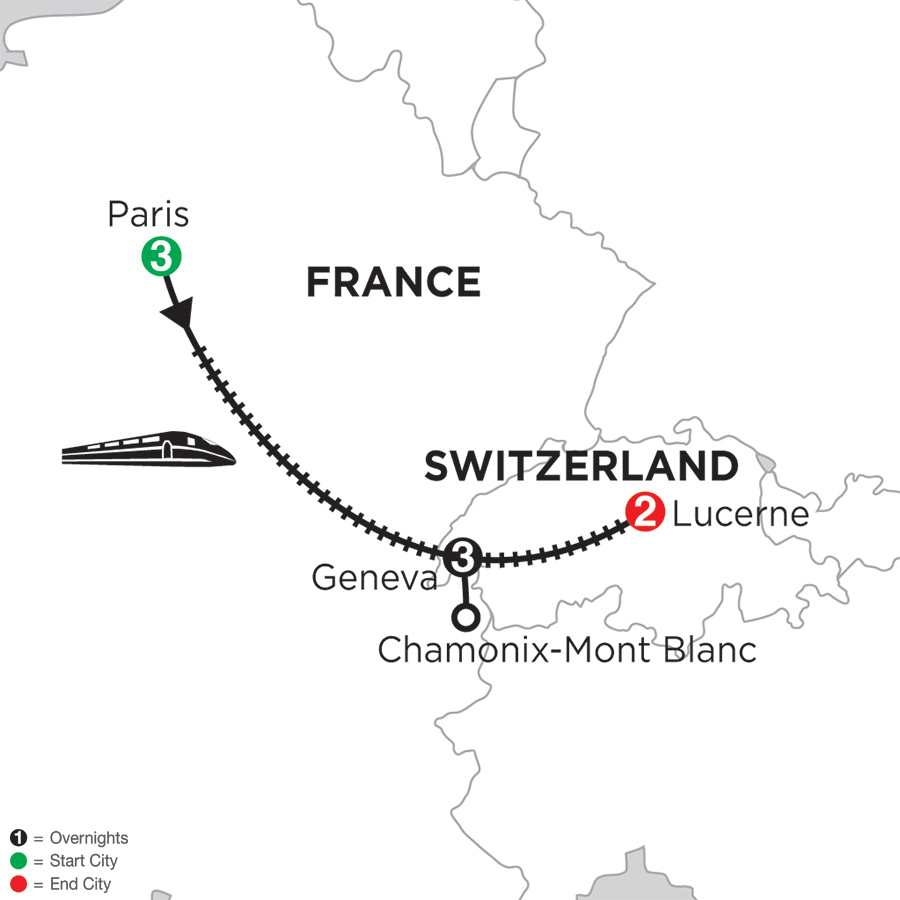 Paris, Geneva with Mont Blanc & Lucerne