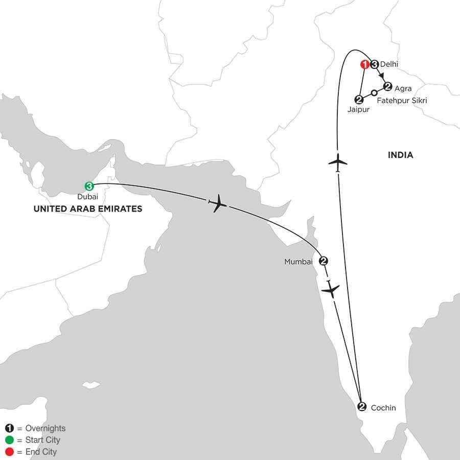 Indias Golden Triangle with Dubai & Southern India