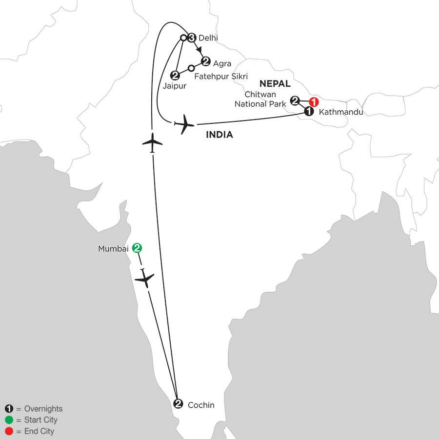 Indias Golden Triangle with Southern India & Nepal