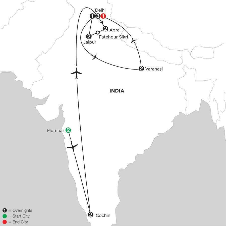 Indias Golden Triangle with Southern India & Varanasi