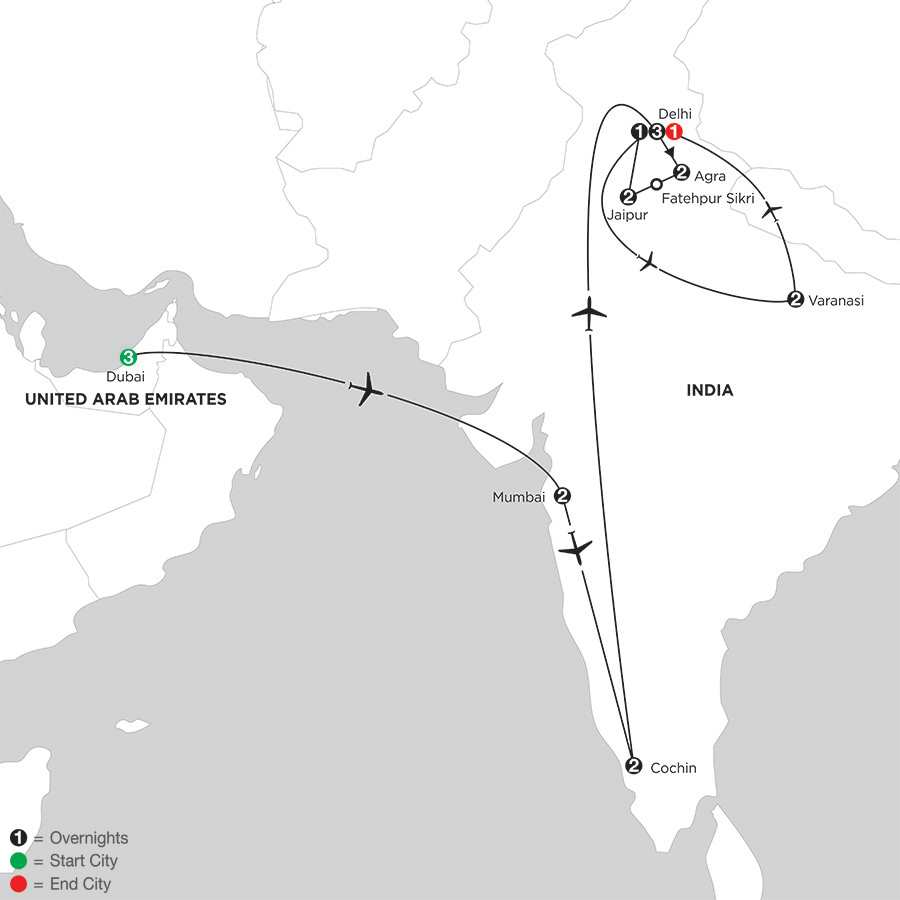 Indias Golden Triangle with Dubai, Southern India & Varanasi
