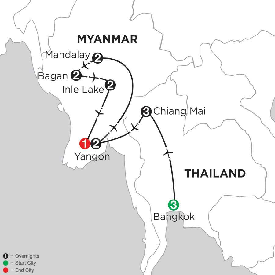 Mingalabar Myanmar with Bangkok & Chiang Mai
