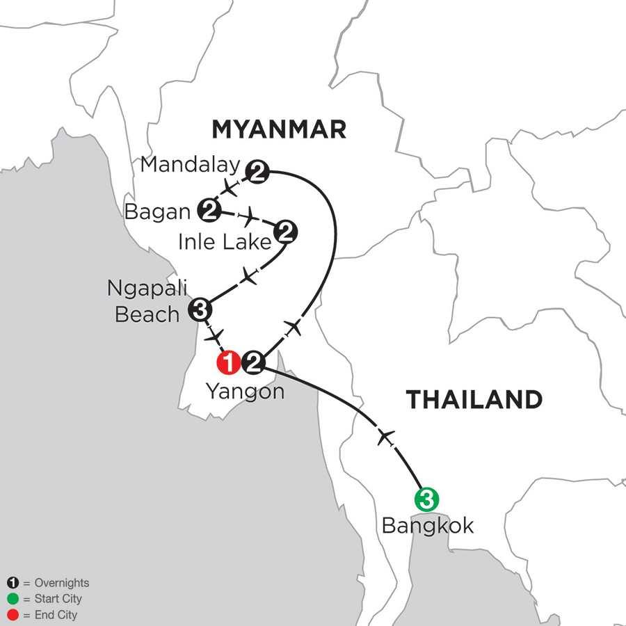 Mingalabar Myanmar with Bangkok & Ngapali Beach