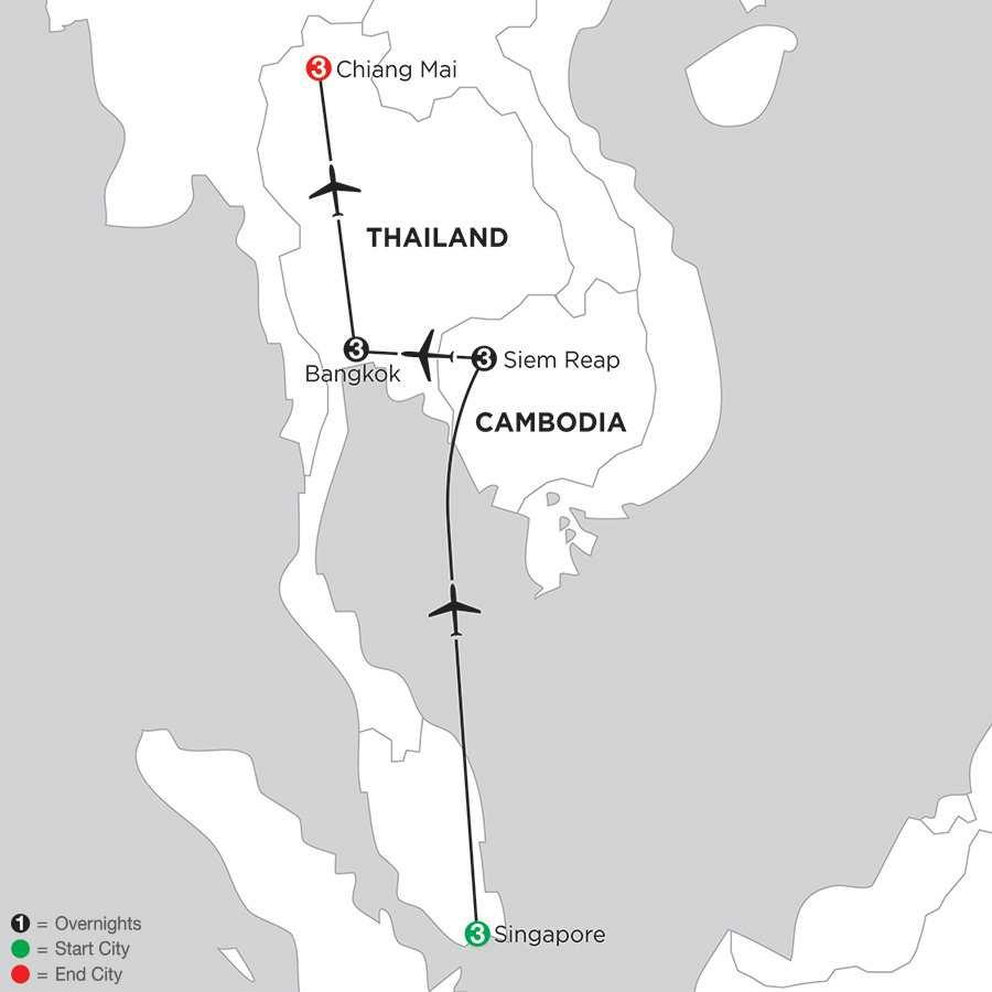 Singapore, Siem Reap, Bangkok & Chiang Mai