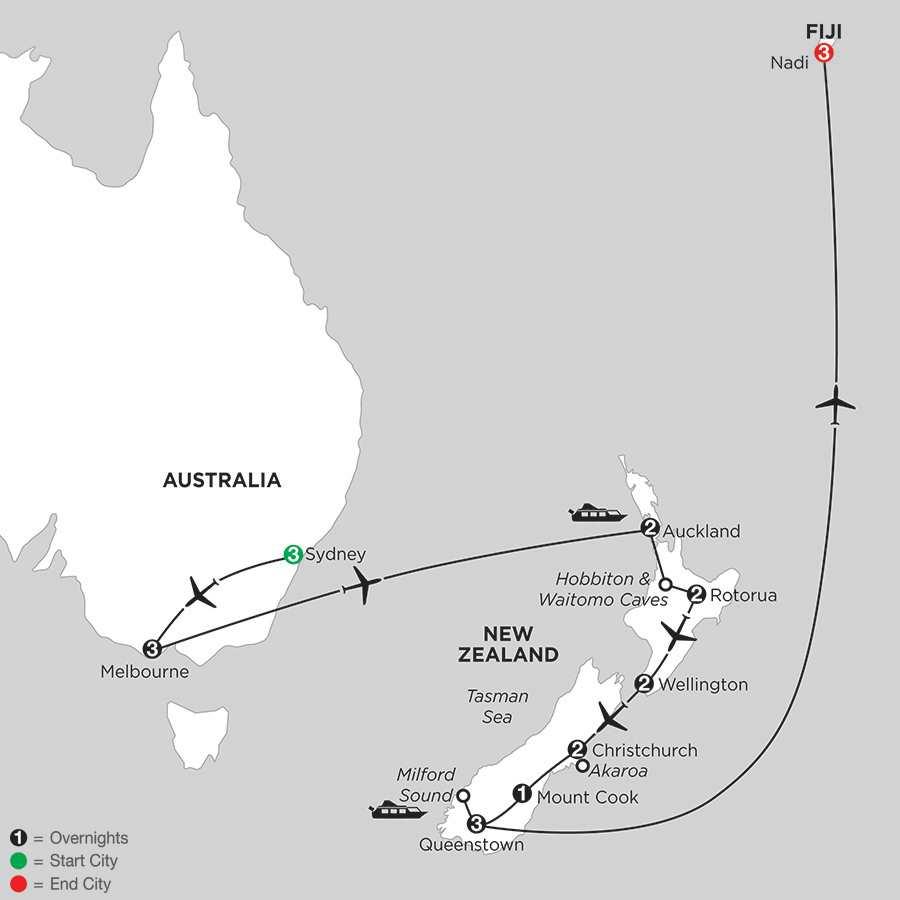 with Sydney, Melbourne & Fiji