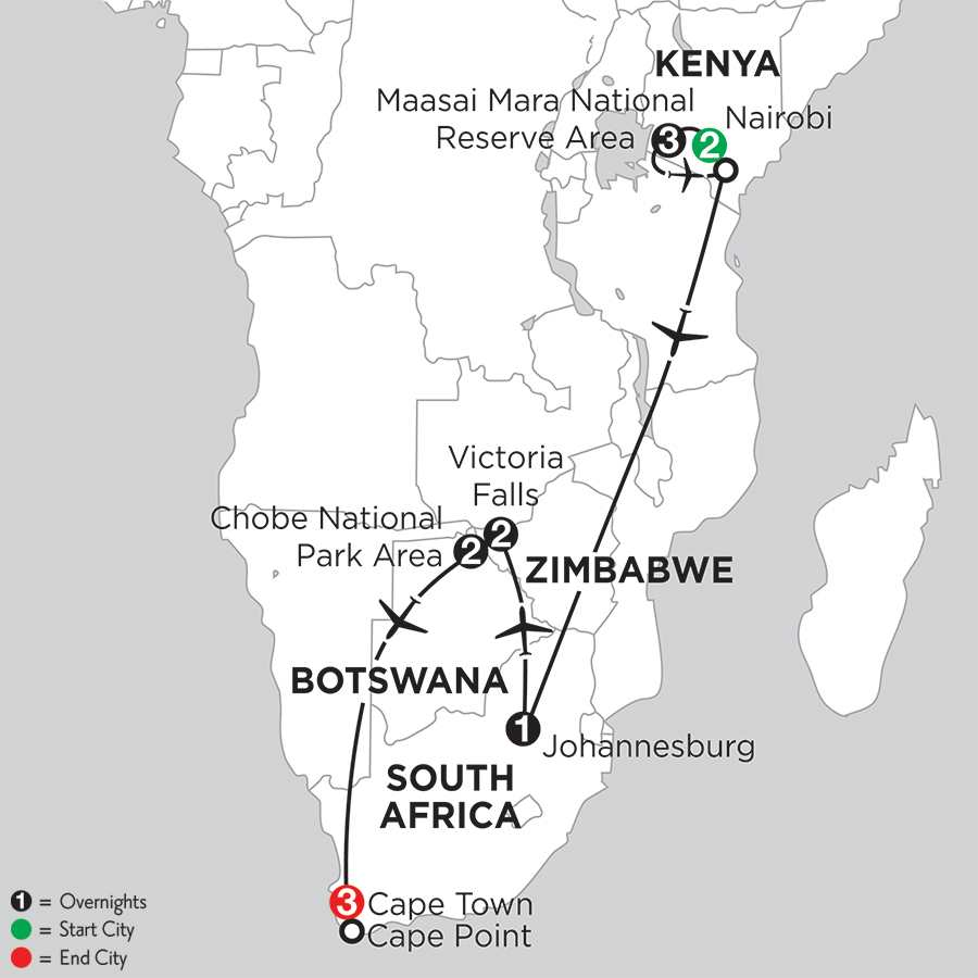 with Nairobi & Chobe National Park Area