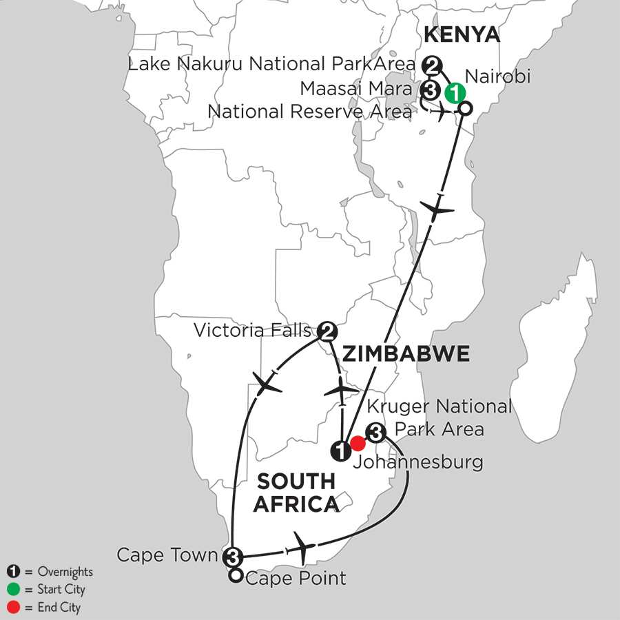 with Lake Nakuru National Park Area & Kruger National Park Area