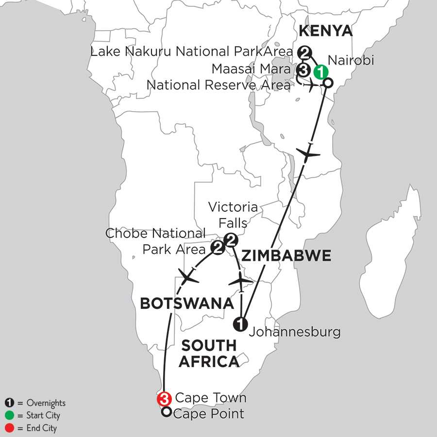 with Lake Nakuru National Park Area & Chobe National Park Area