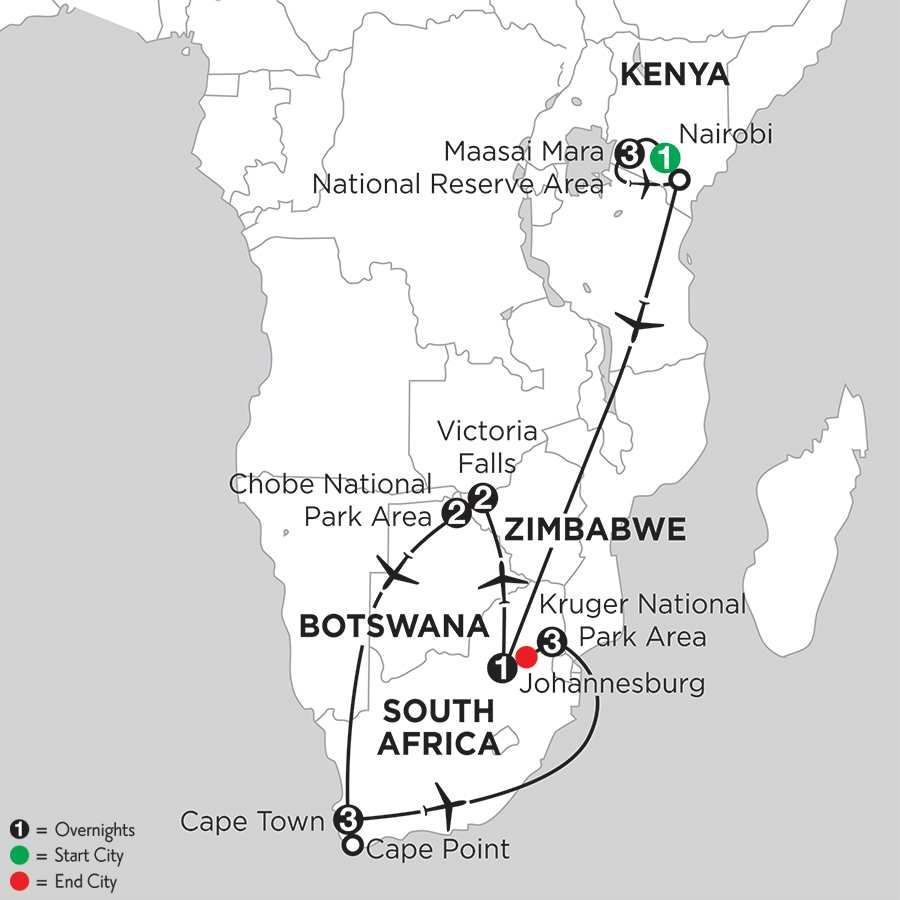with Chobe National Park Area & Kruger National Park Area