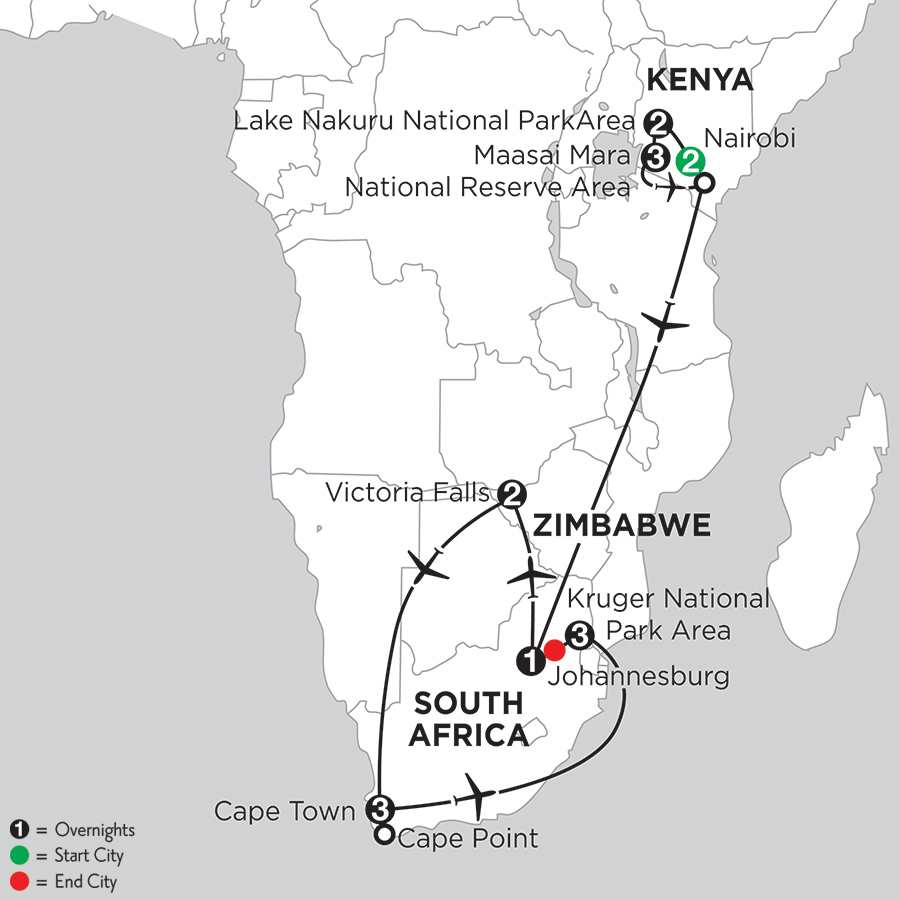 with Nairobi, Lake Nakuru National Park Area & Kruger National Park Area