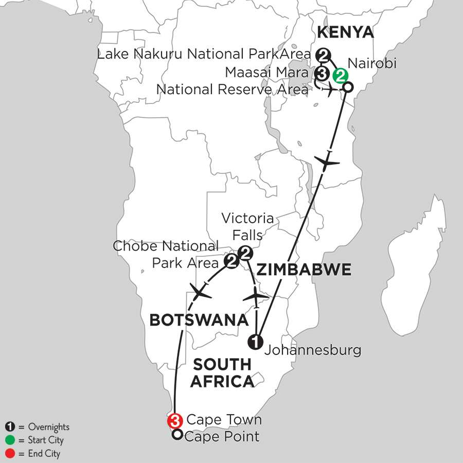with Nairobi, Lake Nakuru National Park Area & Chobe National Park Area