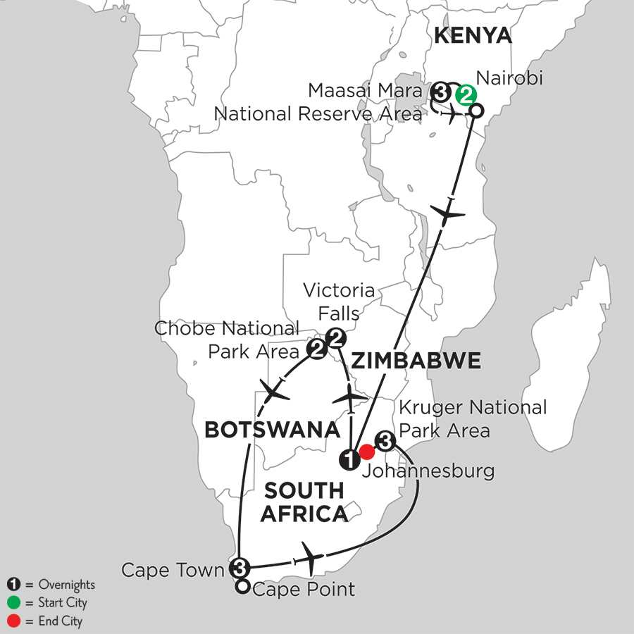 with Nairobi, Chobe National Park Area & Kruger National Park Area