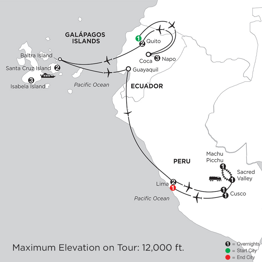 with Ecuador's Amazon, Peru & Machu Picchu