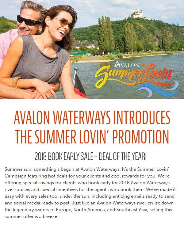 Avalon Waterways Introduces the Summer Lovin' Promotion - 2018 Book Early Sale - Deal of the year!