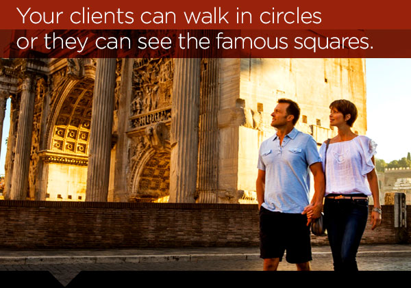 Your clients can walk in circles or they can see the famous squares.
