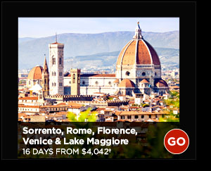 Sorrento, Rome, Florence, Venice & Lake Maggiore: 16 Days from $4,042+ GO
