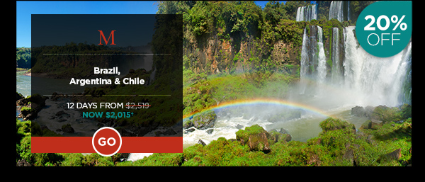 Brazil, Argentina & Chile 12 Days From $2,015*
