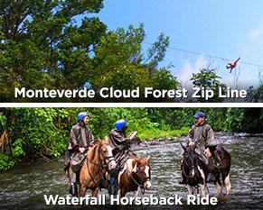 Monteverde Cloud Forest Zip Line Waterfall Horseback Ride