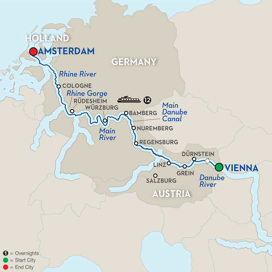 Itinerary map of European Splendor - Westbound