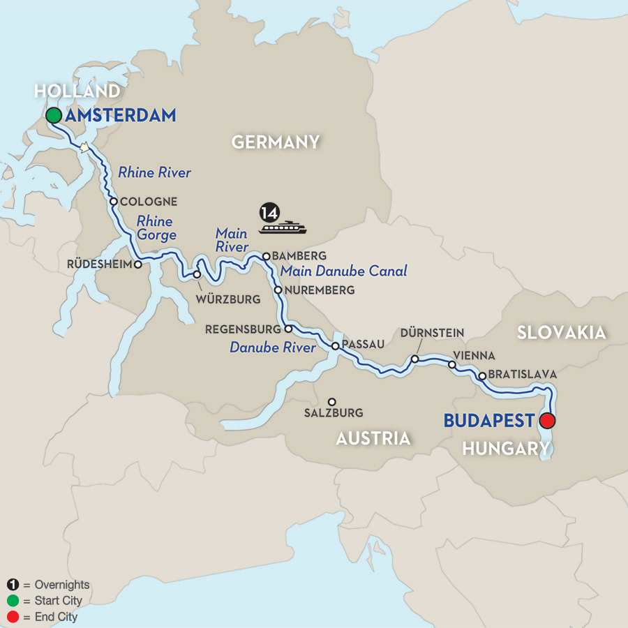 Itinerary map of Magnificent Europe – Eastbound>