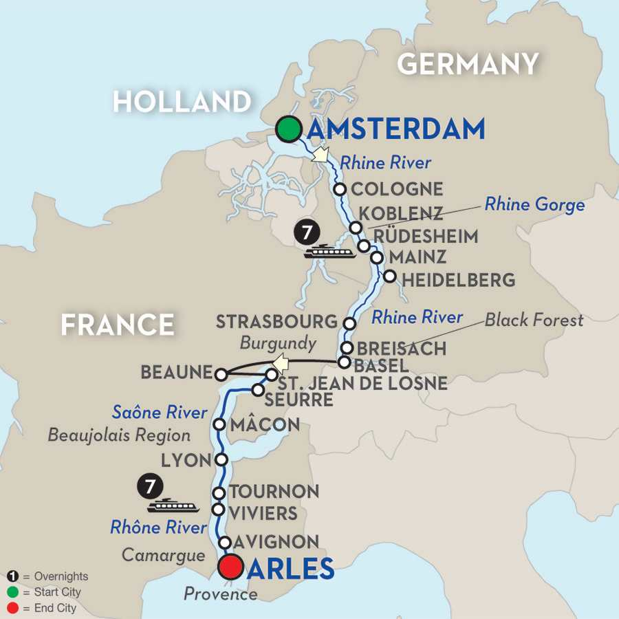 Itinerary map of Rhine & Rhône Revealed for Wine Lovers – Cruise Only