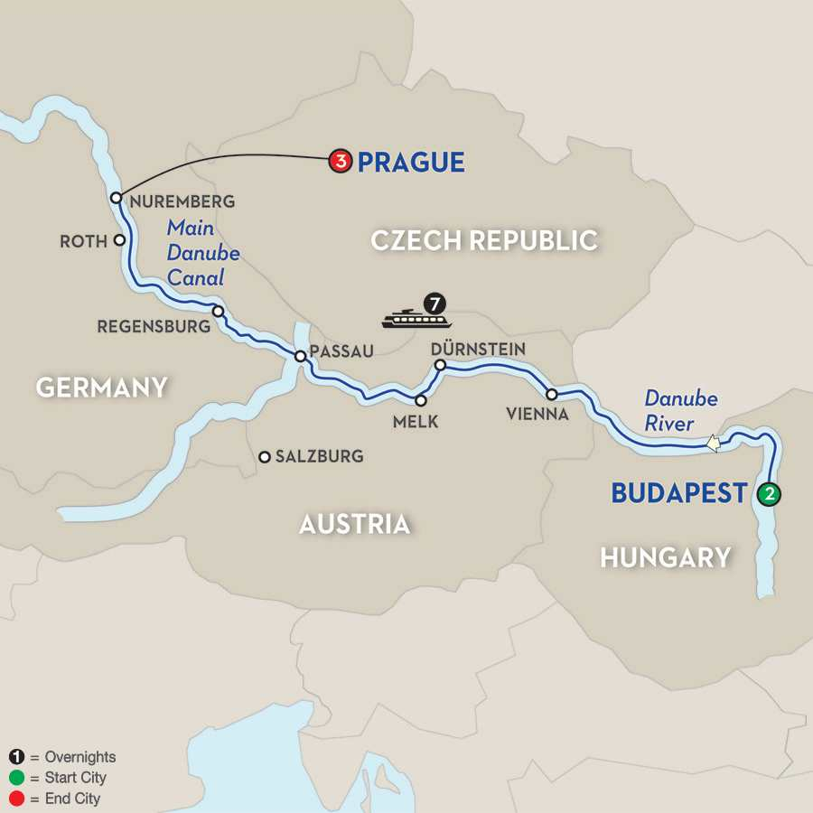 Itinerary map of The Blue Danube Discovery>