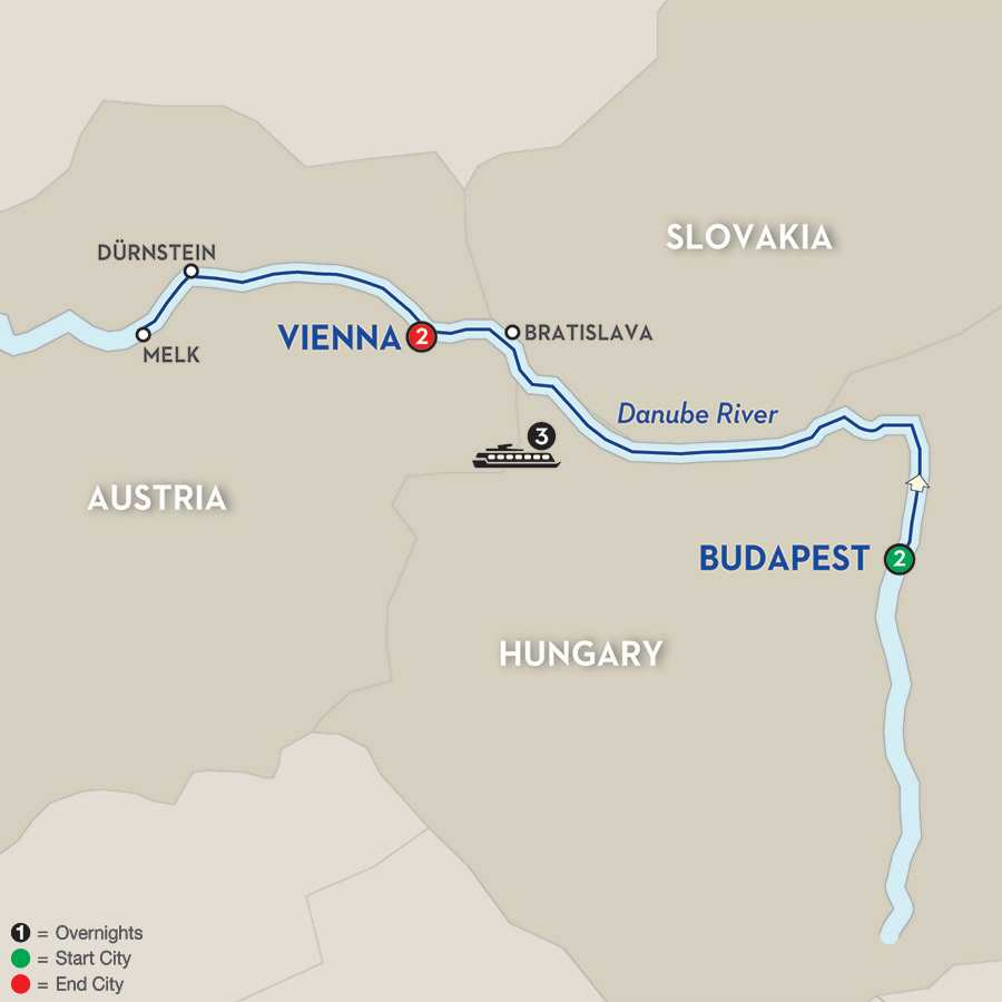 Itinerary map of A Taste of the Danube – Westbound