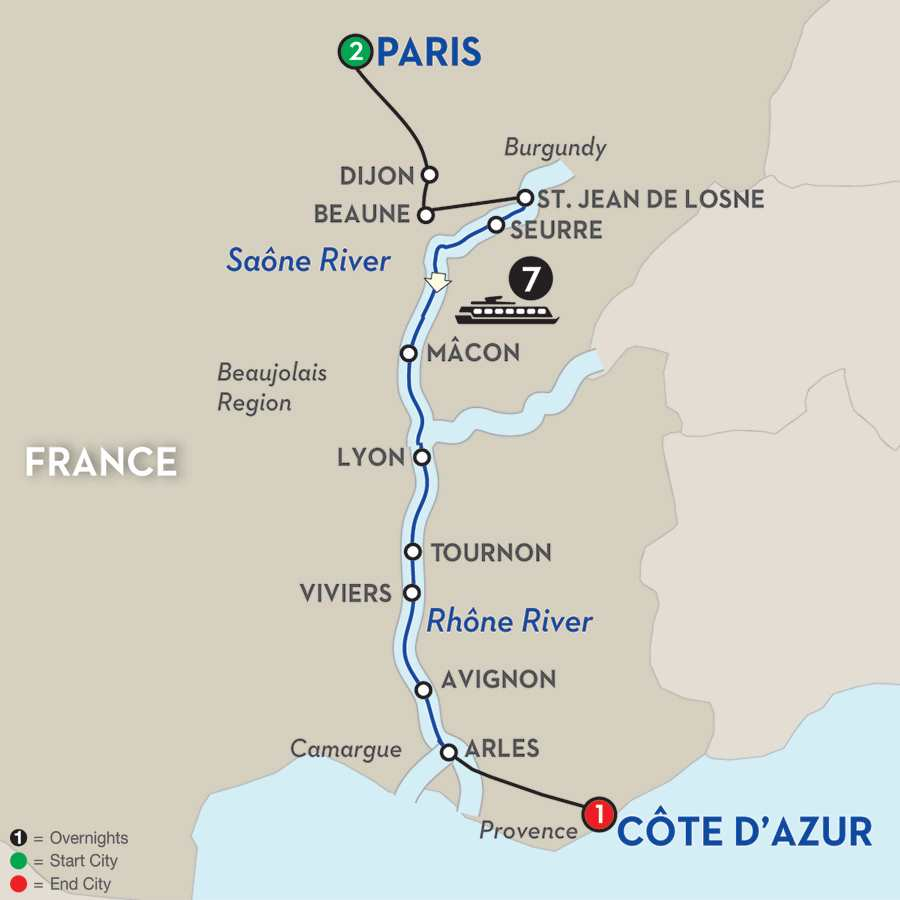 Itinerary map of Burgundy & Provence – Southbound>