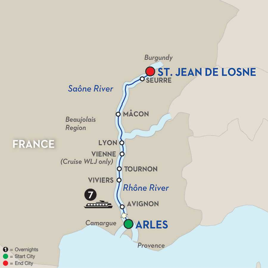 Itinerary map of Sounds of Jazz from Burgundy & Provence – Cruise Only
