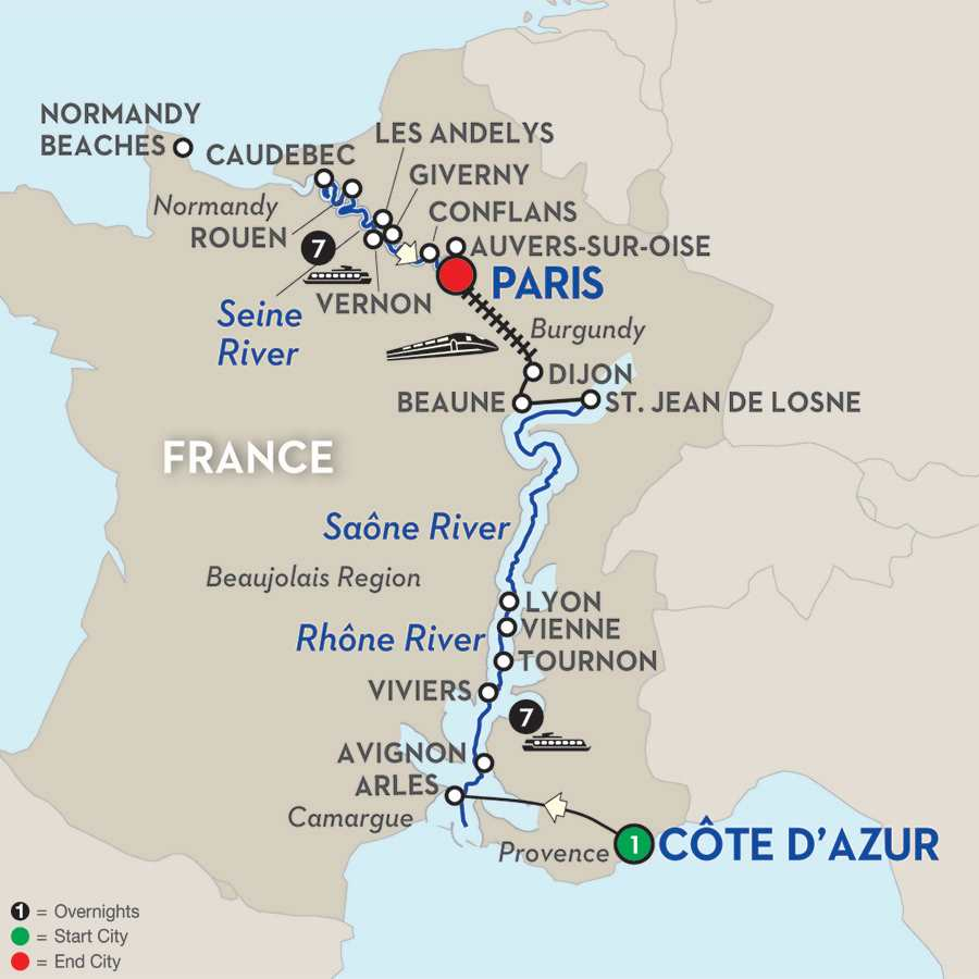 Itinerary map of Grand France – Northbound