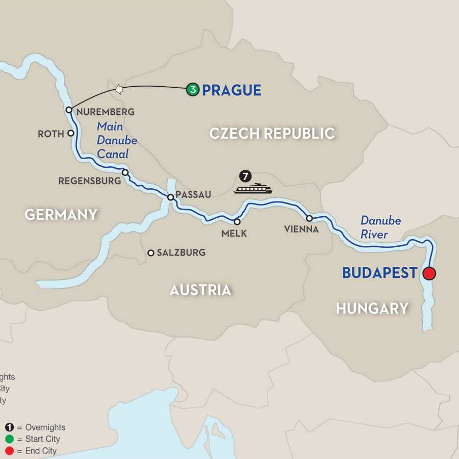 Itinerary map of The Legendary Danube