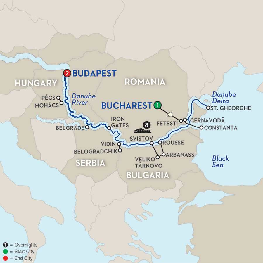 Itinerary map of The Danube from the Black Sea to Budapest – Westbound>