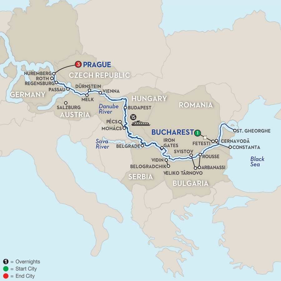 Itinerary map of From the Danube Delta to Prague – Westbound>