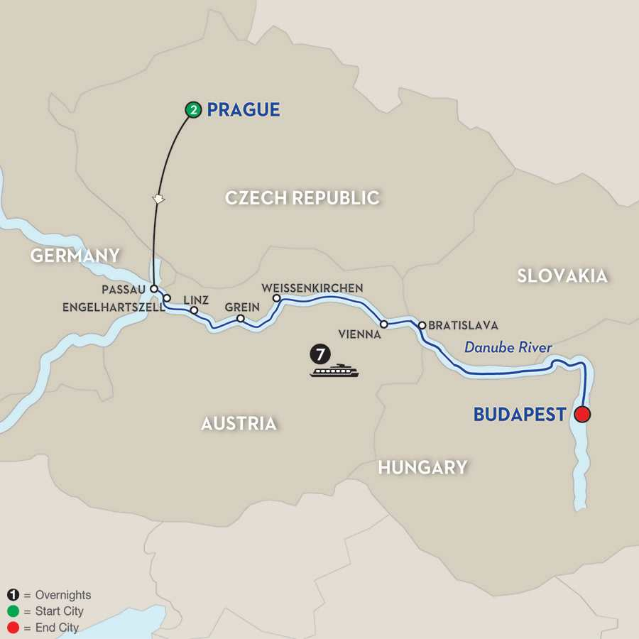 Itinerary map of Danube Dreams – Eastbound