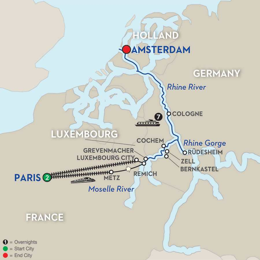 Itinerary map of Canals, Vineyards & Paris – Northbound>