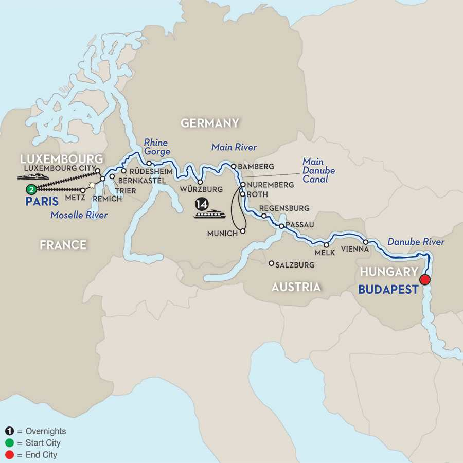 Itinerary map of Jewels of Central Europe - Eastbound