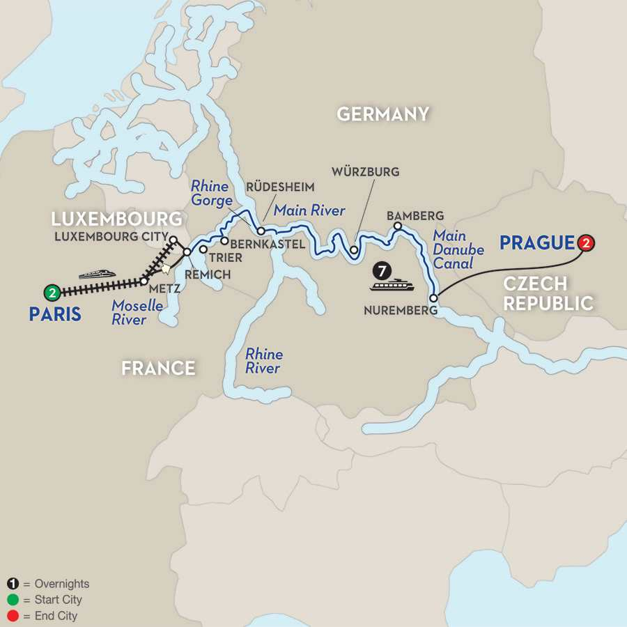 Itinerary map of Central European Experience – Eastbound>