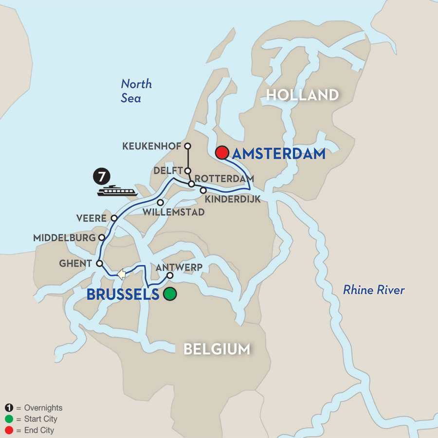 Itinerary map of Holland & Belgium with Tulips in Early Spring – Northbound