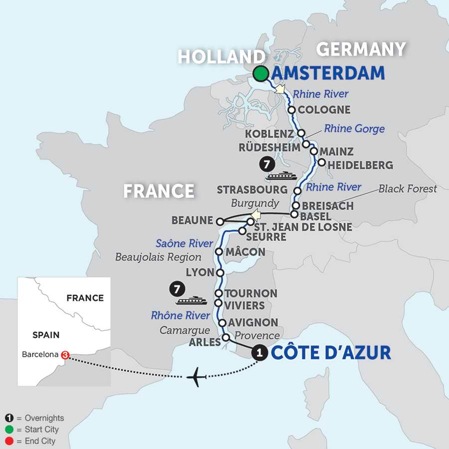 Itinerary map of Rhine & Rhône Revealed with Barcelona for Wine Lovers