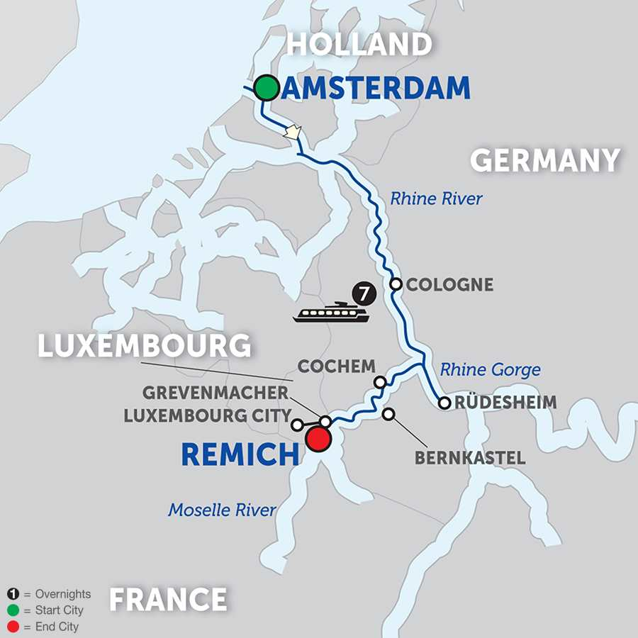 Itinerary map of Canals, Vineyards & Paris - Cruise Only Southbound