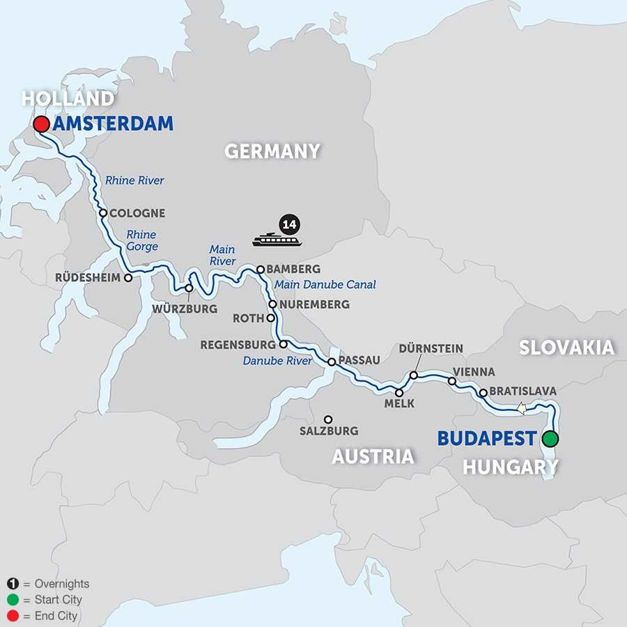 Itinerary map of Magnificent Europe – Westbound