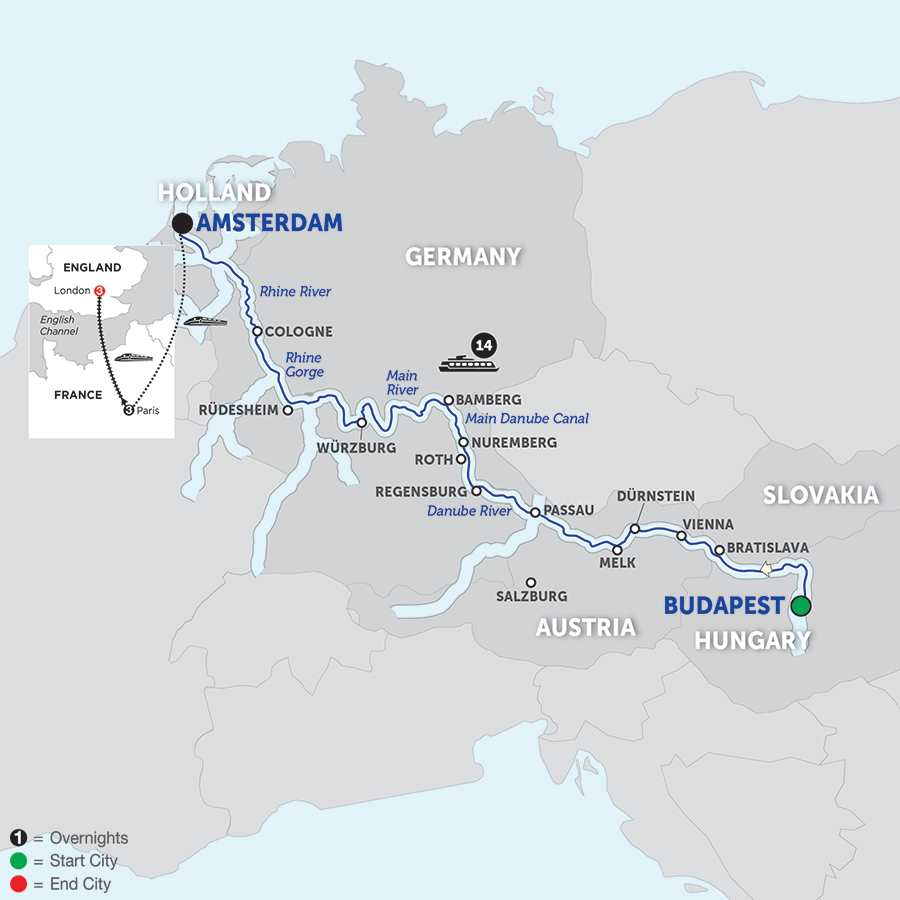 Itinerary map of Magnificent Europe with Paris & London – Westbound