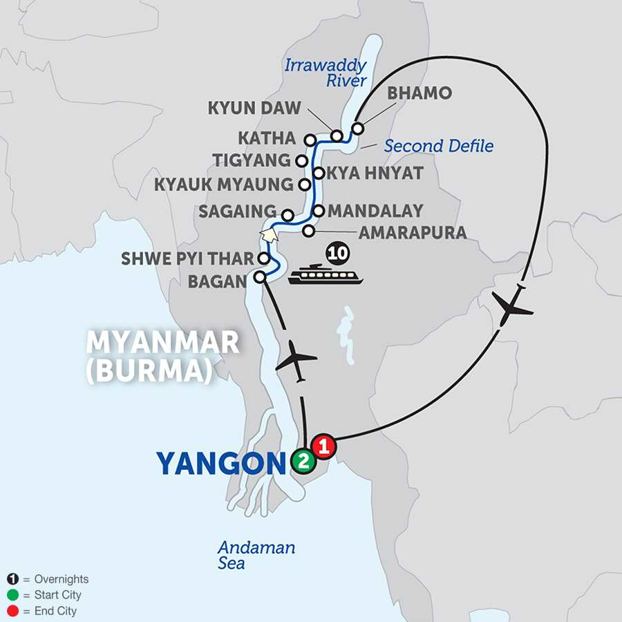 Itinerary map of Golden Myanmar & the Alluring Irrawaddy – Northbound