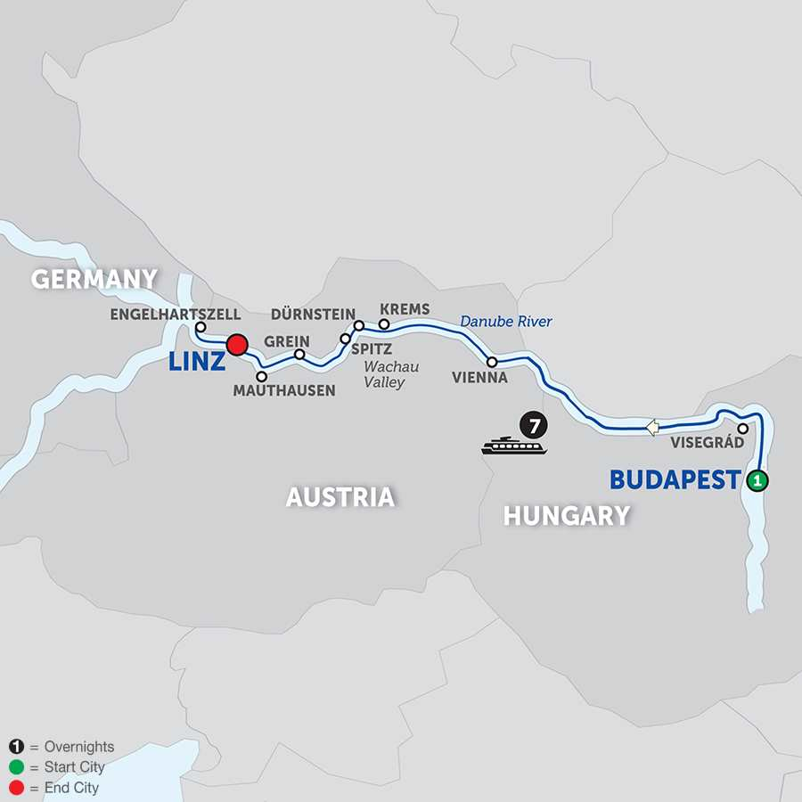 Itinerary map of Active Discovery on the Danube – Westbound